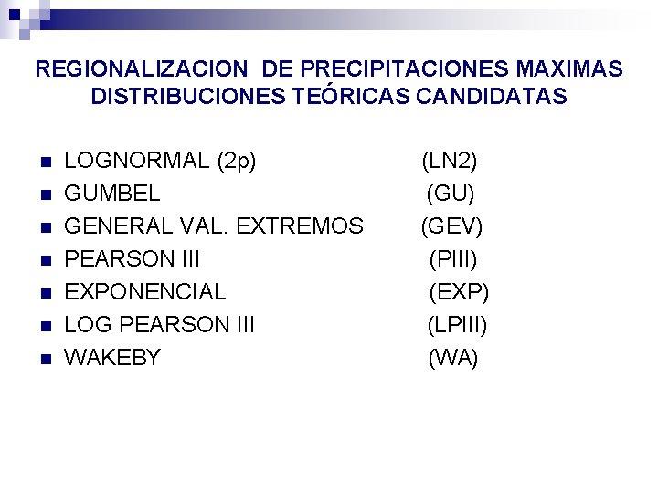 REGIONALIZACION DE PRECIPITACIONES MAXIMAS DISTRIBUCIONES TEÓRICAS CANDIDATAS n n n n LOGNORMAL (2 p)