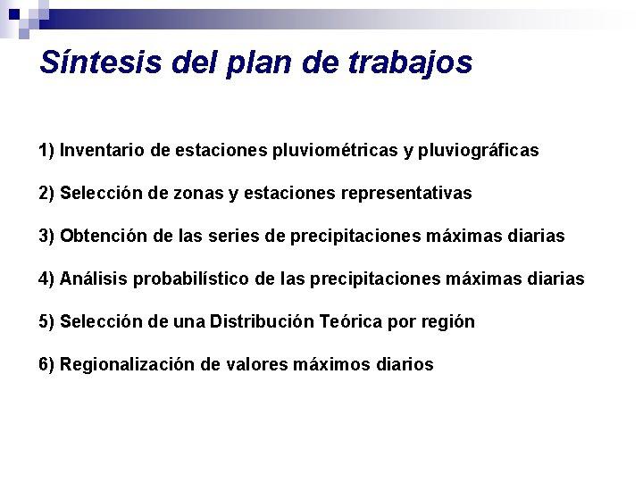 Síntesis del plan de trabajos 1) Inventario de estaciones pluviométricas y pluviográficas 2) Selección