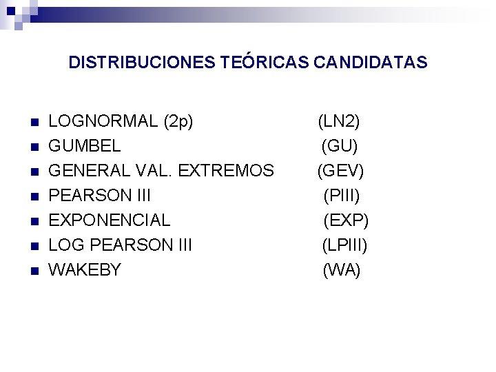 DISTRIBUCIONES TEÓRICAS CANDIDATAS n n n n LOGNORMAL (2 p) GUMBEL GENERAL VAL. EXTREMOS