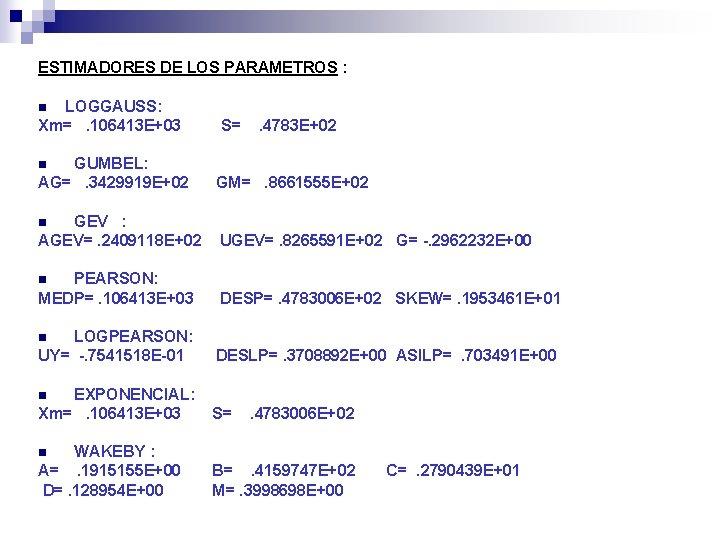 ESTIMADORES DE LOS PARAMETROS : LOGGAUSS: Xm=. 106413 E+03 n S= . 4783 E+02