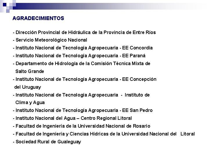 AGRADECIMIENTOS - Dirección Provincial de Hidráulica de la Provincia de Entre Ríos - Servicio
