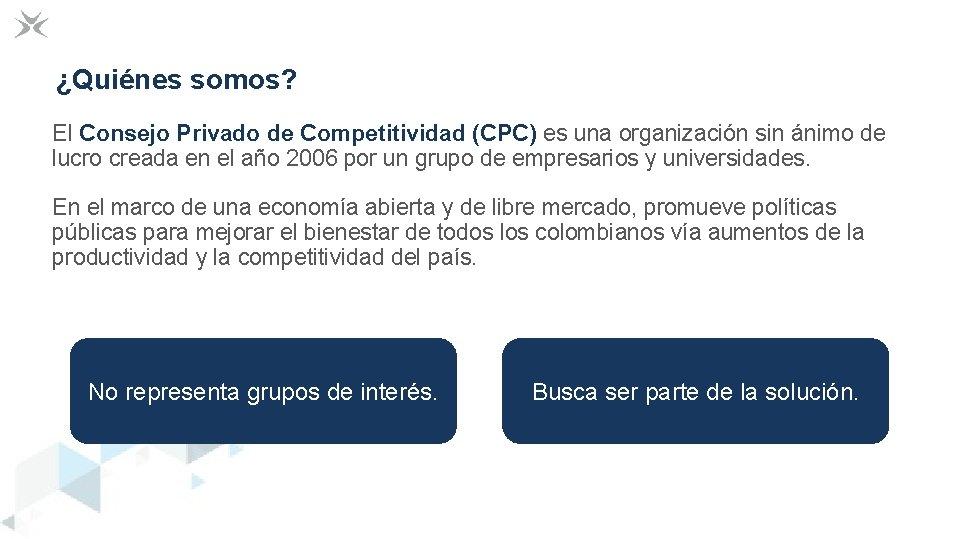 ¿Quiénes somos? El Consejo Privado de Competitividad (CPC) es una organización sin ánimo de
