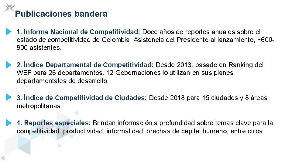 Publicaciones bandera 1. Informe Nacional de Competitividad: Doce años de reportes anuales sobre el
