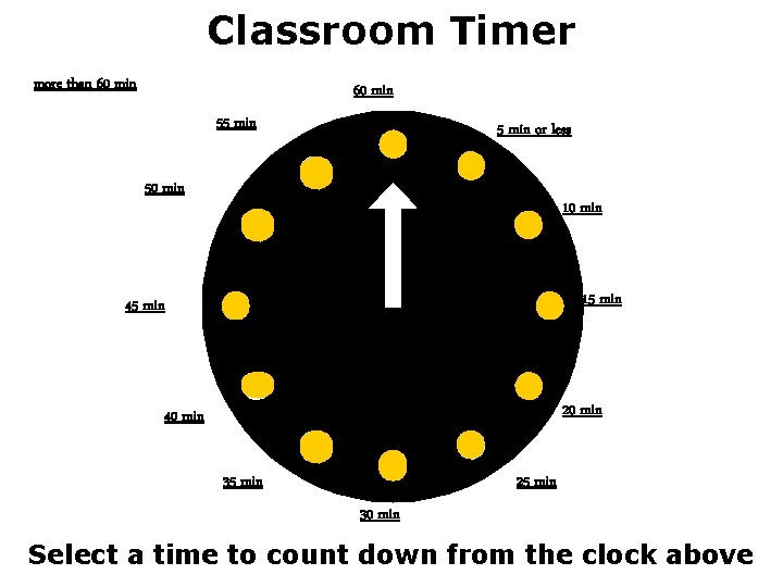 Classroom Timer more than 60 min 55 min or less 50 min 15 min