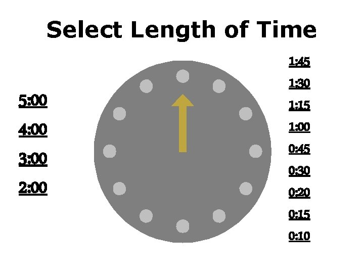 Select Length of Time 5: 00 4: 00 3: 00 2: 00 1: 45