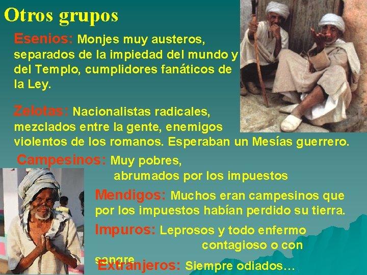 Otros grupos Esenios: Monjes muy austeros, separados de la impiedad del mundo y del