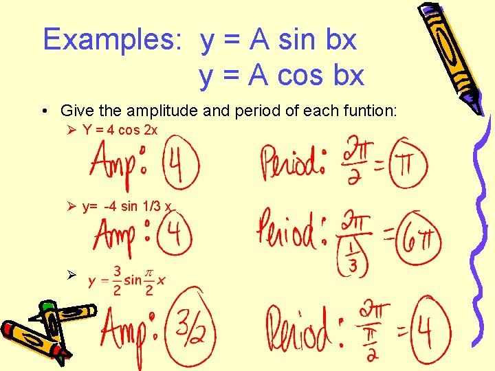 Examples: y = A sin bx y = A cos bx • Give the