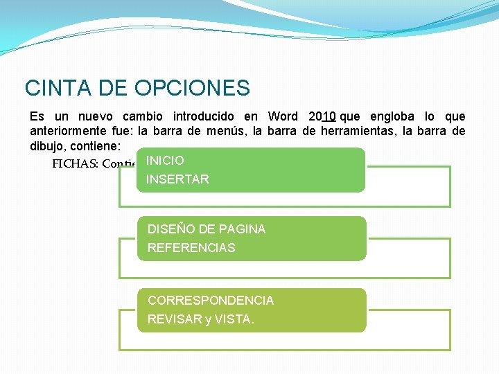 CINTA DE OPCIONES Es un nuevo cambio introducido en Word 2010 que engloba lo