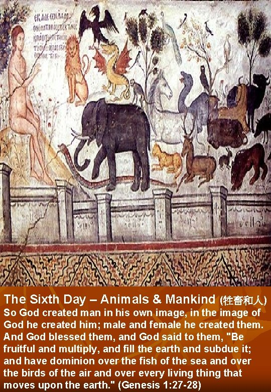 The Sixth Day – Animals & Mankind (牲畜和人) So God created man in his