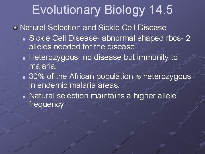 Evolutionary Biology 14. 5 Natural Selection and Sickle Cell Disease. n Sickle Cell Disease-