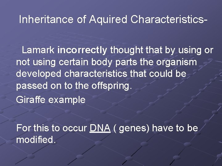 Inheritance of Aquired Characteristics Lamark incorrectly thought that by using or not using certain