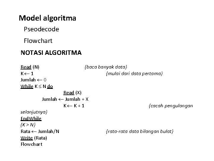 Model algoritma Pseodecode Flowchart NOTASI ALGORITMA Read (N) K 1 Jumlah 0 While K