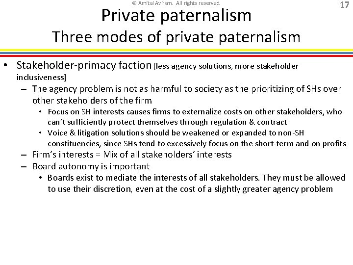 © Amitai Aviram. All rights reserved. Private paternalism 17 Three modes of private paternalism