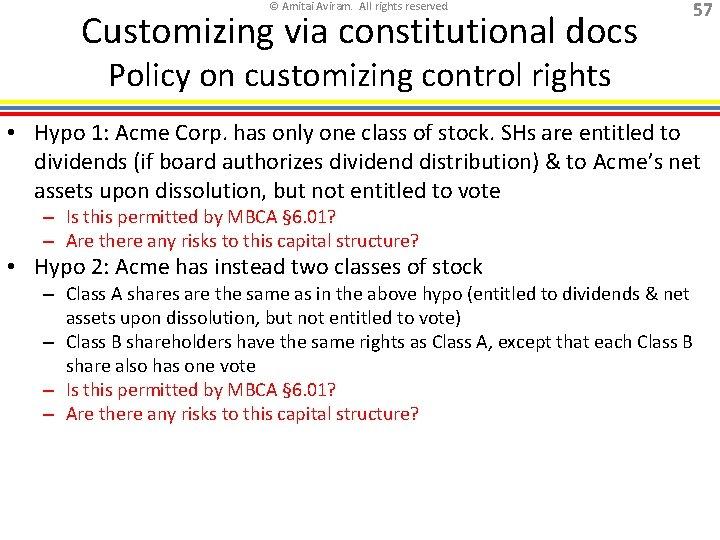 © Amitai Aviram. All rights reserved. Customizing via constitutional docs 57 Policy on customizing