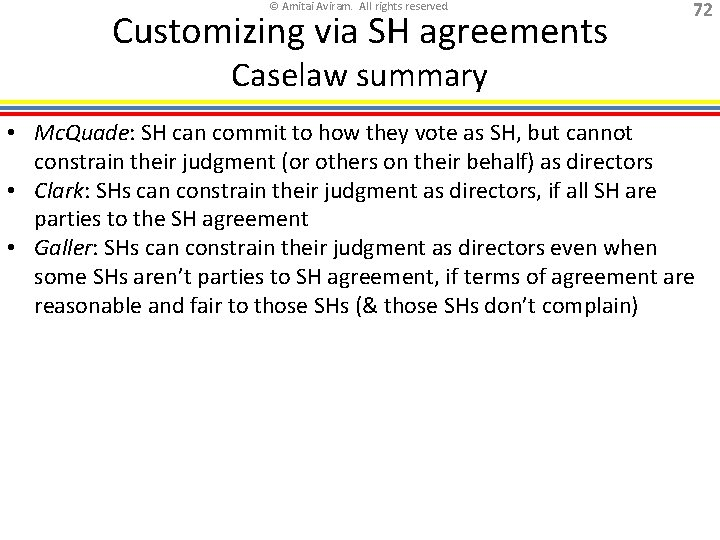 © Amitai Aviram. All rights reserved. Customizing via SH agreements 72 Caselaw summary •