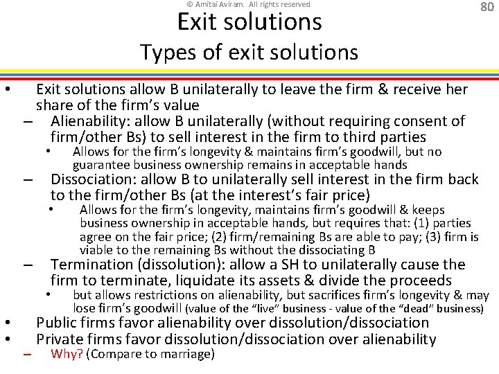 © Amitai Aviram. All rights reserved. Exit solutions 80 Types of exit solutions •