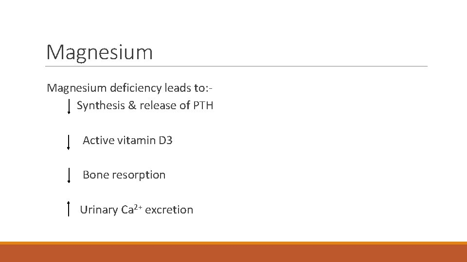 Magnesium deficiency leads to: Synthesis & release of PTH Active vitamin D 3 Bone