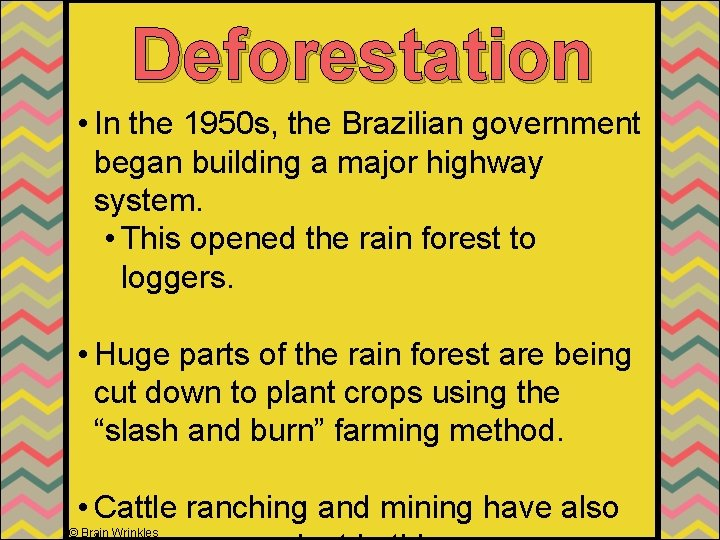 Deforestation • In the 1950 s, the Brazilian government began building a major highway