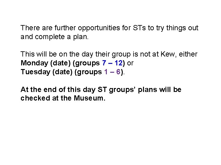 There are further opportunities for STs to try things out and complete a plan.