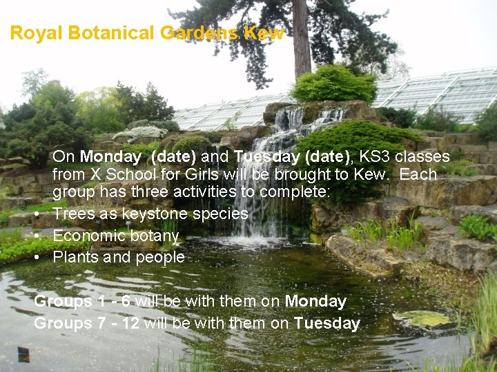 Royal Botanical Gardens Kew On Monday (date) and Tuesday (date), KS 3 classes from