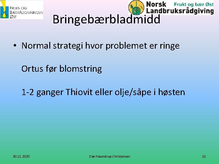 Bringebærbladmidd • Normal strategi hvor problemet er ringe Ortus før blomstring 1 -2 ganger