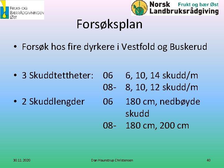 Forsøksplan • Forsøk hos fire dyrkere i Vestfold og Buskerud • 3 Skuddtettheter: 06