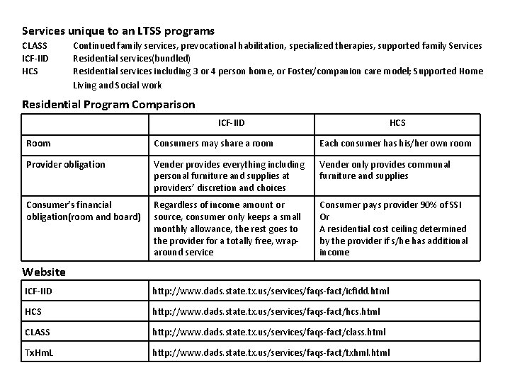 Services unique to an LTSS programs CLASS ICF-IID HCS Continued family services, prevocational habilitation,