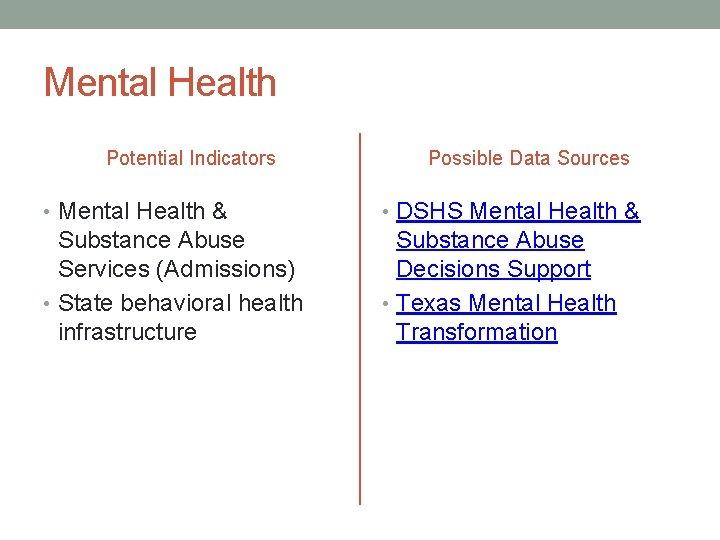 Mental Health Potential Indicators Possible Data Sources • Mental Health & • DSHS Mental