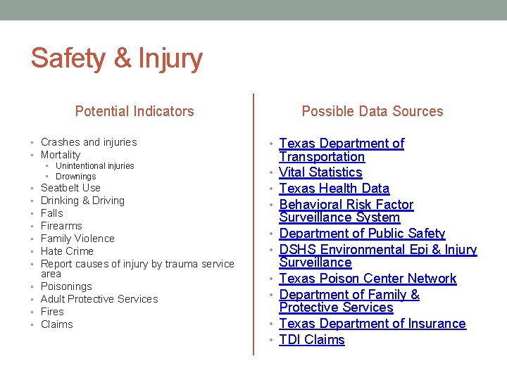 Safety & Injury Potential Indicators • Crashes and injuries • Mortality • Unintentional injuries