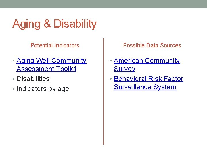 Aging & Disability Potential Indicators Possible Data Sources • Aging Well Community • American