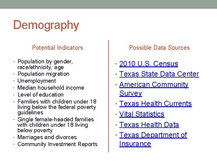 Demography Potential Indicators Possible Data Sources • Population by gender, • 2010 U. S.