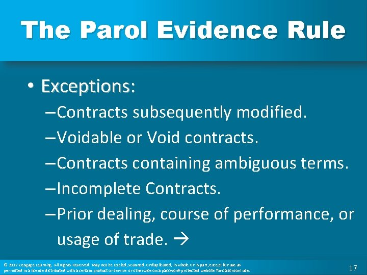 The Parol Evidence Rule • Exceptions: – Contracts subsequently modified. – Voidable or Void