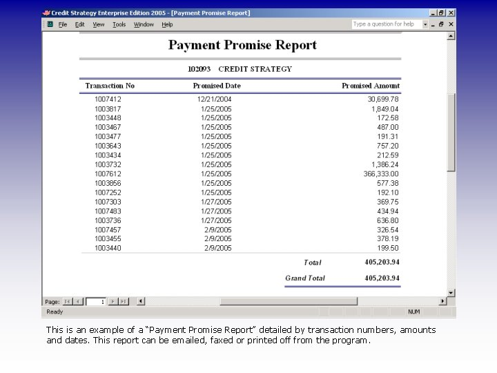 "This is an example of a ""Payment Promise Report"" detailed by transaction numbers, amounts"