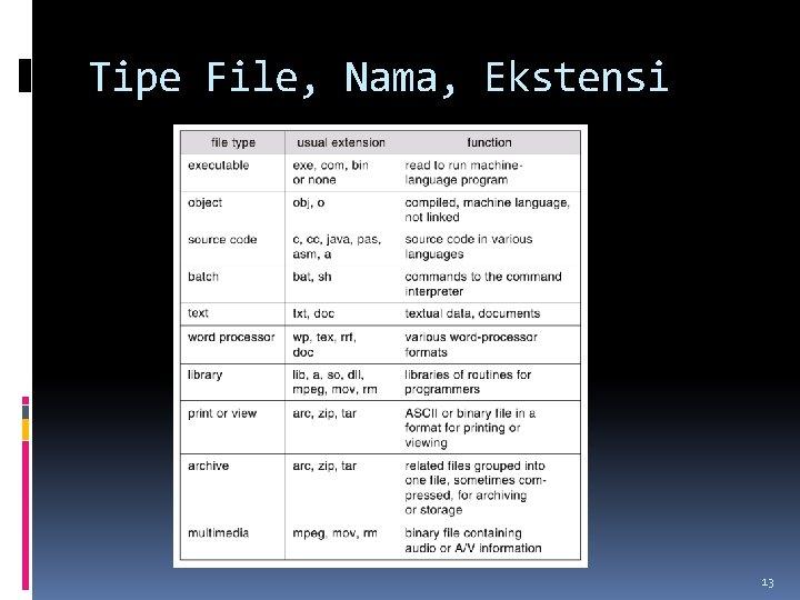 Tipe File, Nama, Ekstensi 13