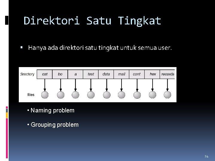 Direktori Satu Tingkat Hanya ada direktori satu tingkat untuk semua user. • Naming problem