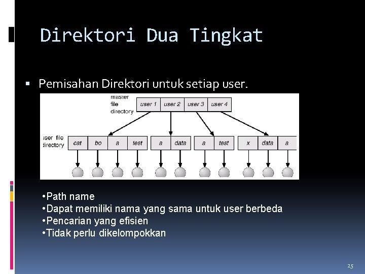 Direktori Dua Tingkat Pemisahan Direktori untuk setiap user. • Path name • Dapat memiliki