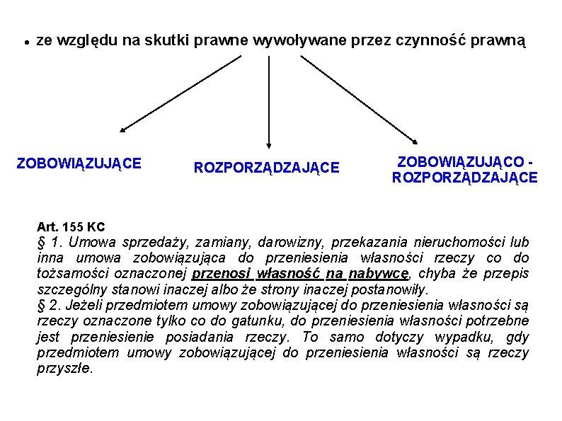 ze względu na skutki prawne wywoływane przez czynność prawną ZOBOWIĄZUJĄCE Art. 155 KC