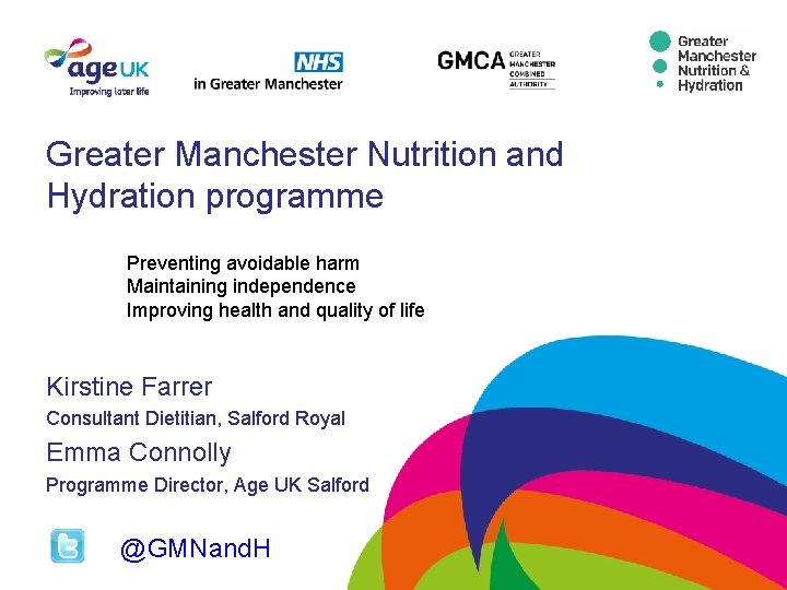 Greater Manchester Nutrition and Hydration programme Preventing avoidable harm Maintaining independence Improving health and