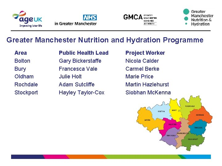 Greater Manchester Nutrition and Hydration Programme Area Bolton Bury Oldham Rochdale Stockport Public Health