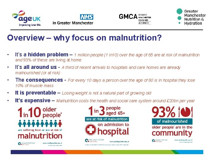 Overview – why focus on malnutrition? • It's a hidden problem – 1 million