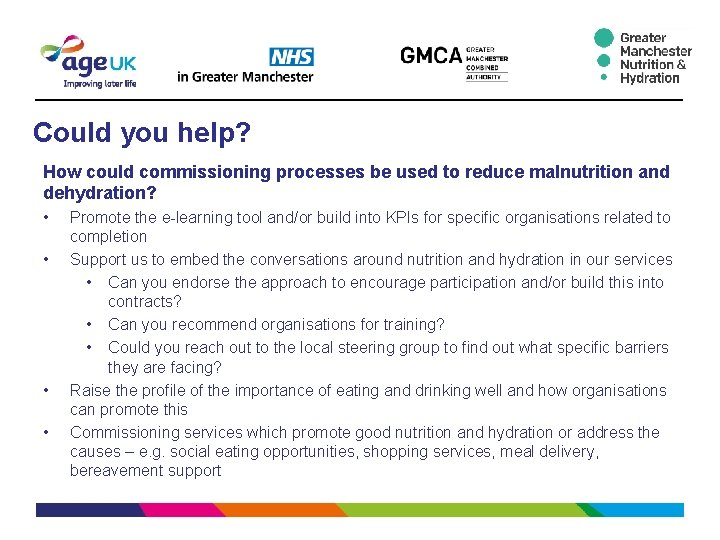 Could you help? How could commissioning processes be used to reduce malnutrition and dehydration?