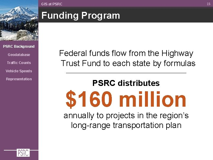 15 GIS at PSRC Funding Program PSRC Background Geodatabase Traffic Counts Federal funds flow