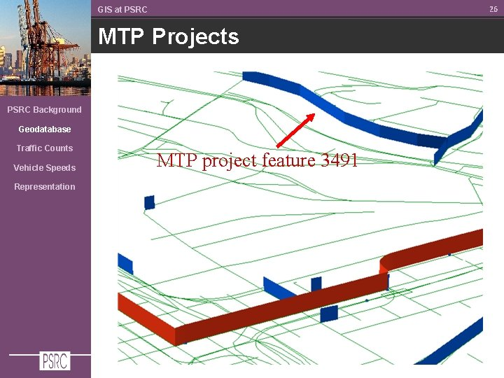 26 GIS at PSRC MTP Projects PSRC Background Geodatabase Traffic Counts Vehicle Speeds Representation