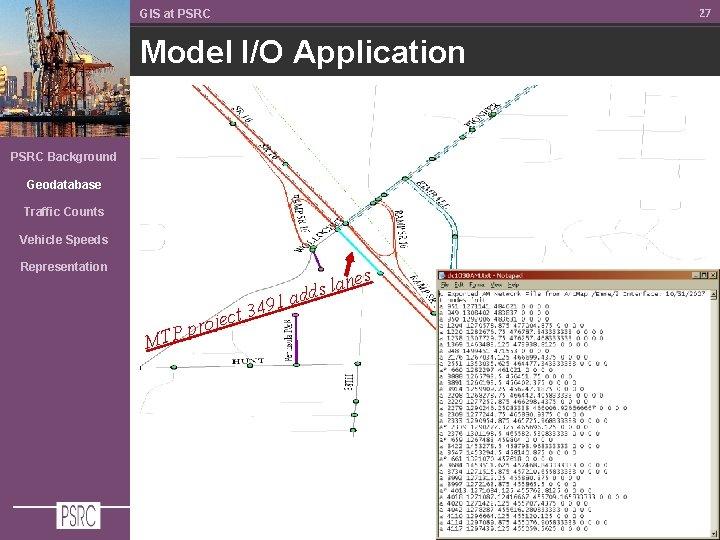 27 GIS at PSRC Model I/O Application PSRC Background Geodatabase Traffic Counts Vehicle Speeds