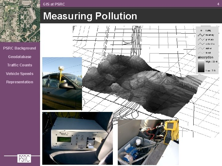 GIS at PSRC Measuring Pollution PSRC Background Geodatabase Traffic Counts Vehicle Speeds Representation 4