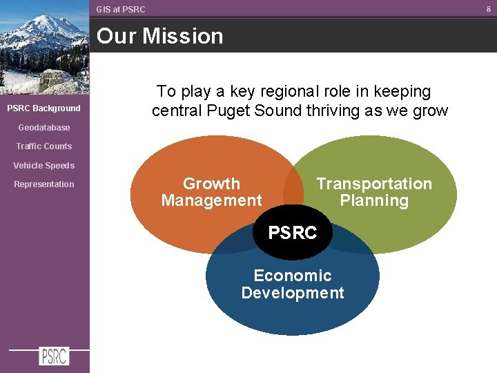 8 GIS at PSRC Our Mission PSRC Background To play a key regional role