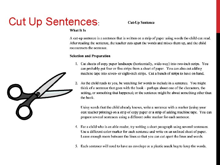 Cut Up Sentences: