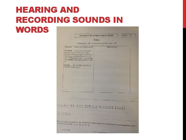 HEARING AND RECORDING SOUNDS IN WORDS