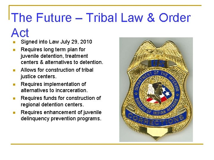 The Future – Tribal Law & Order Act n n n Signed into Law
