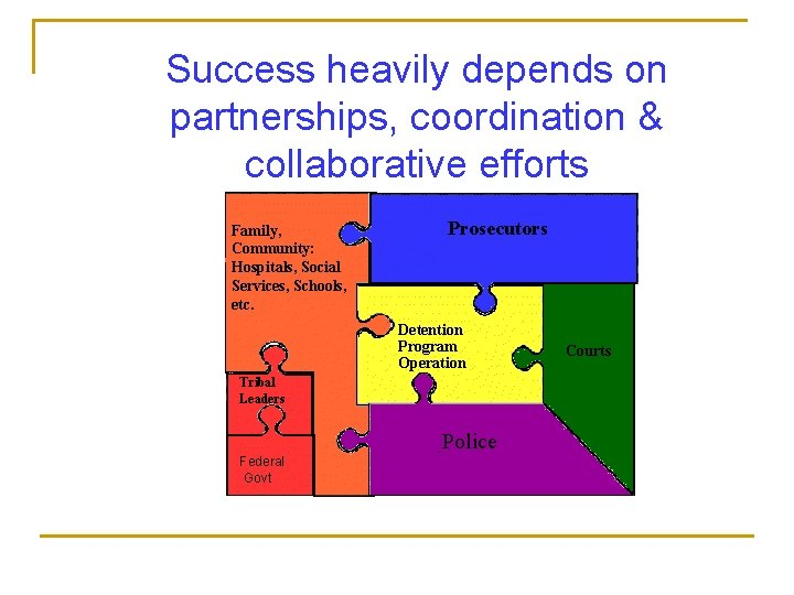 Success heavily depends on partnerships, coordination & collaborative efforts Family, Community: Hospitals, Social Services,